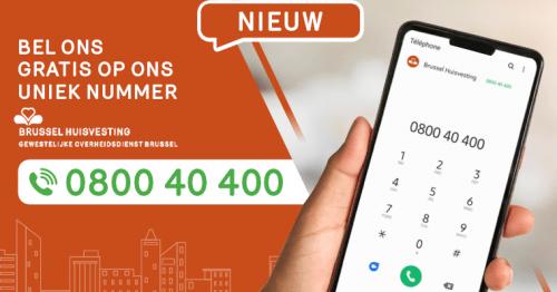 0800 40 400, het nieuwe unieke nummer van Brussel Huisvesting